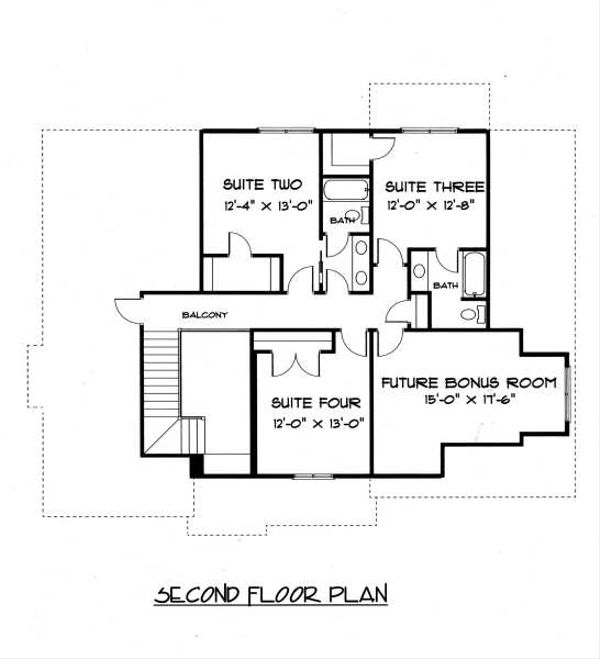 Craftsman Floor Plan - Upper Floor Plan Plan #413-138