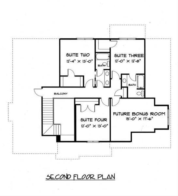 Craftsman Floor Plan - Upper Floor Plan Plan #413-138