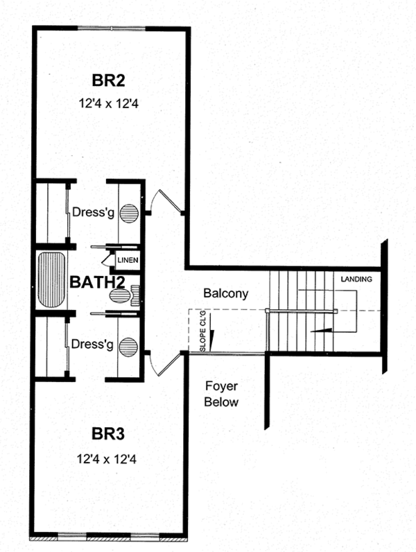 House Plan Design - Colonial Floor Plan - Upper Floor Plan #316-273