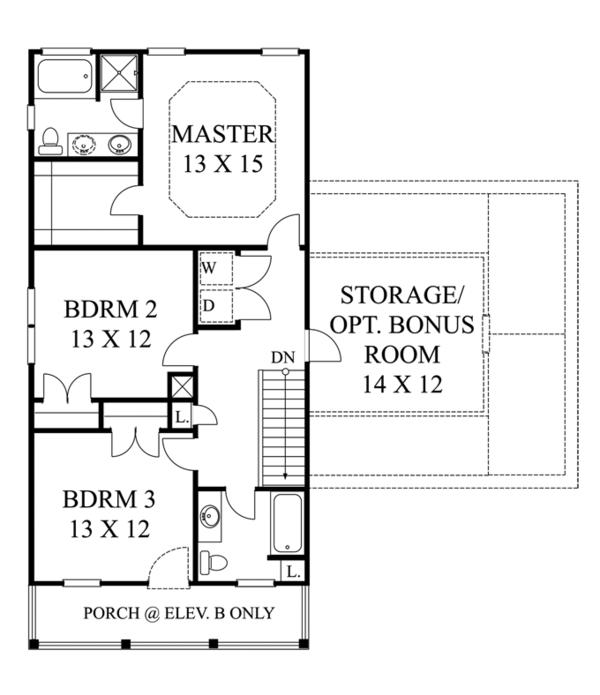 Classical Floor Plan - Upper Floor Plan Plan #1053-47