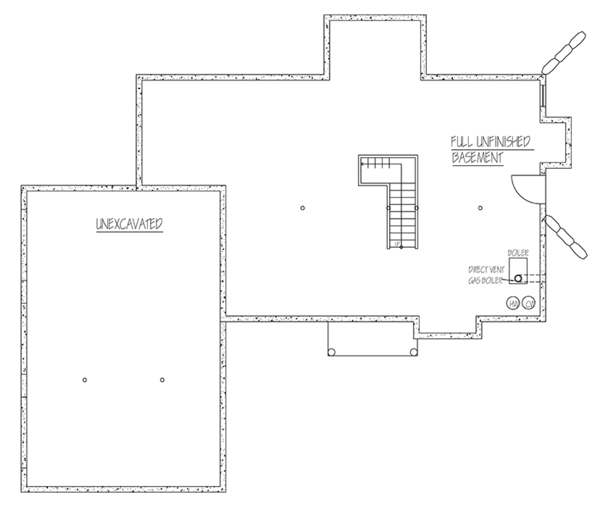 Traditional Floor Plan - Lower Floor Plan Plan #1061-3