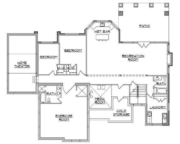 Craftsman Floor Plan - Lower Floor Plan Plan #5-259