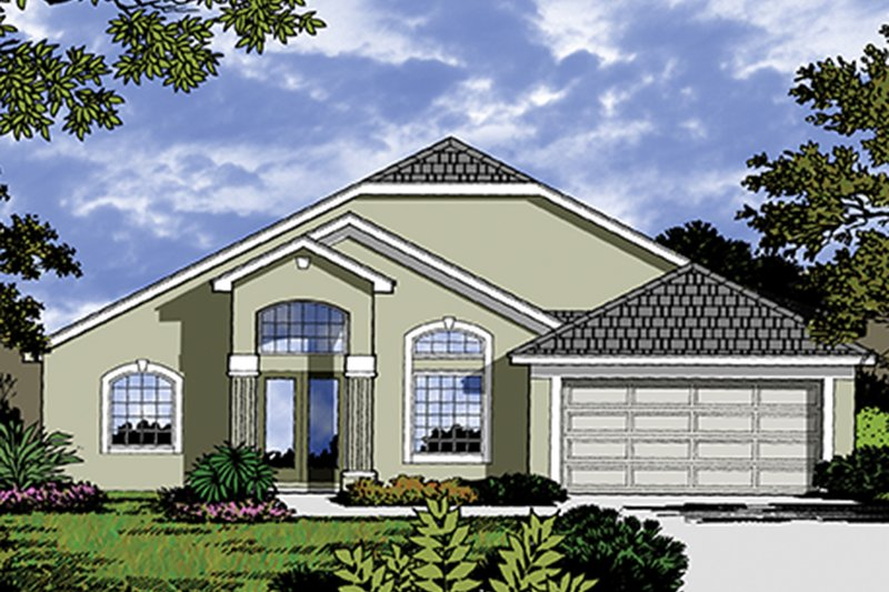 Mediterranean Exterior - Front Elevation Plan #417-822 - Houseplans.com