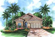 Mediterranean Style House Plan - 4 Beds 3 Baths 2208 Sq/Ft Plan #27-245 Exterior - Front Elevation