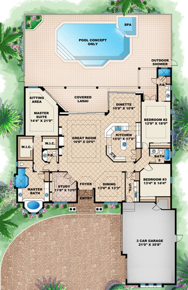 Beach Floor Plan - Main Floor Plan Plan #27-513