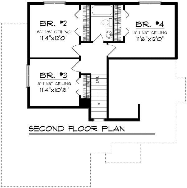 Traditional Floor Plan - Upper Floor Plan Plan #70-1163