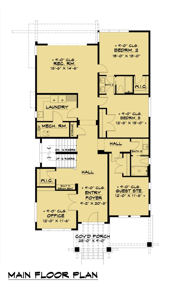 Contemporary Floor Plan - Main Floor Plan Plan #1066-100