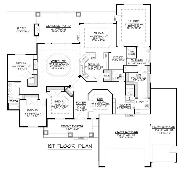 Craftsman Floor Plan - Main Floor Plan Plan #1064-12