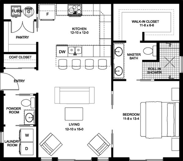 Contemporary Floor Plan - Main Floor Plan Plan #126-177