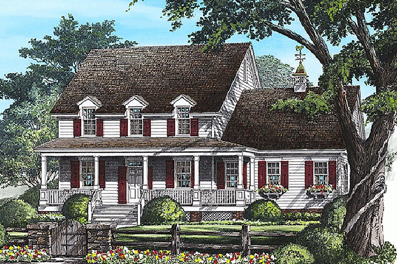 Architectural House Design - Country Exterior - Front Elevation Plan #137-115