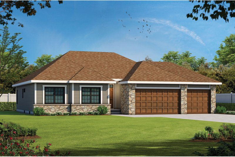 Architectural House Design - Ranch Exterior - Front Elevation Plan #20-2296