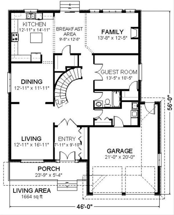 Traditional Floor Plan - Main Floor Plan Plan #414-107