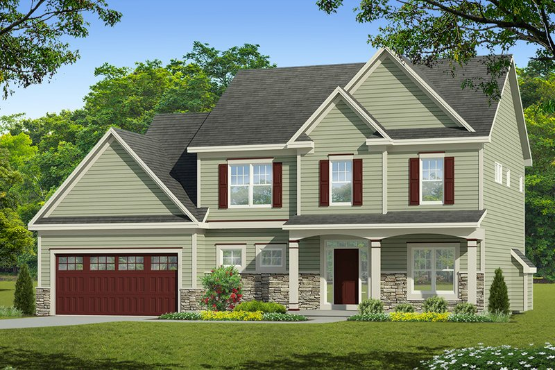 Colonial Exterior - Front Elevation Plan #1010-215