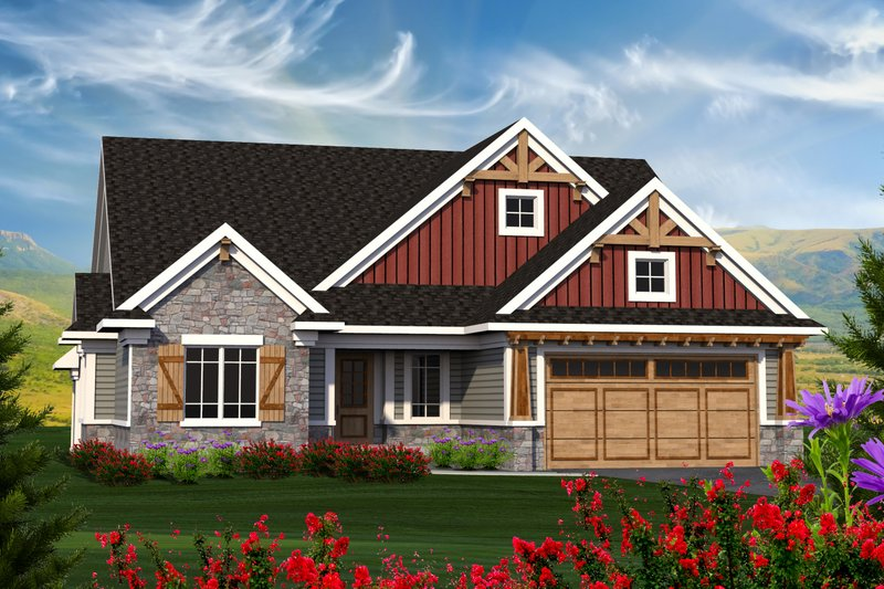 Ranch Exterior - Front Elevation Plan #70-1212