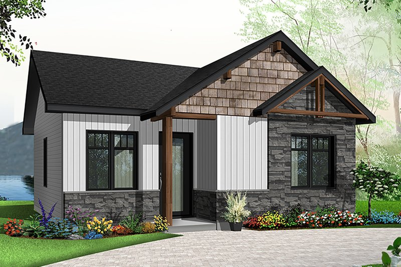 Cabin Style House Plan - 2 Beds 1 Baths 629 Sq/Ft Plan #23-2684 Exterior - Front Elevation