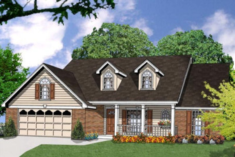 Traditional Style House Plan - 3 Beds 2 Baths 1659 Sq/Ft Plan #40-236 Exterior - Front Elevation