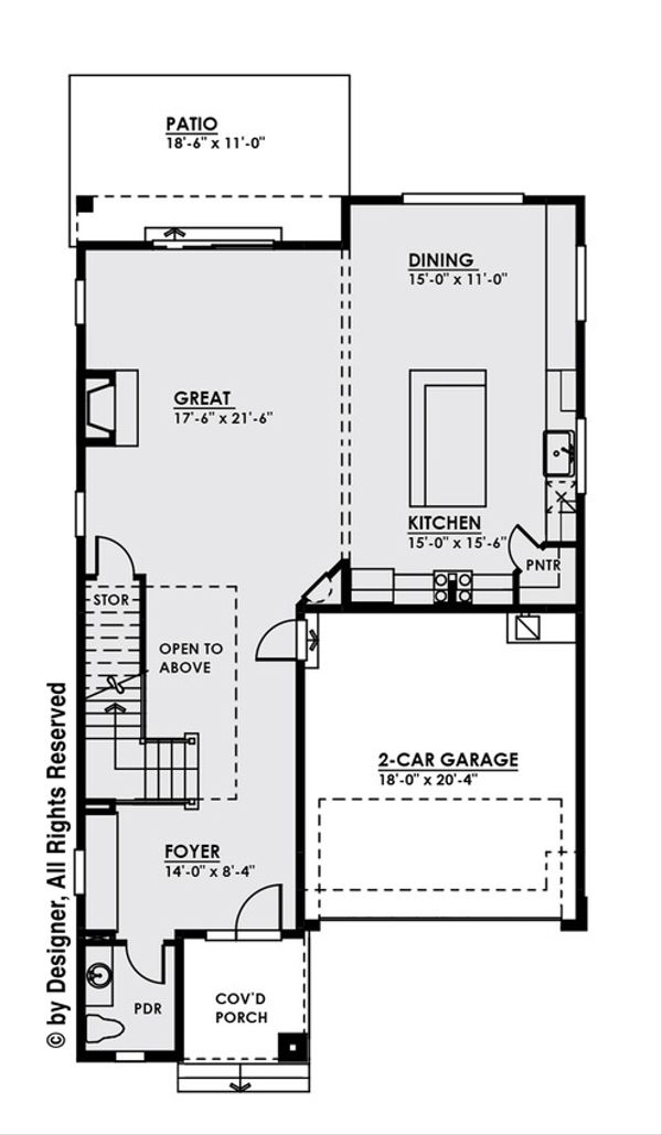Contemporary Style House Plan - 4 Beds 2.5 Baths 2796 Sq/Ft Plan #1066-7 Floor Plan - Main Floor Plan
