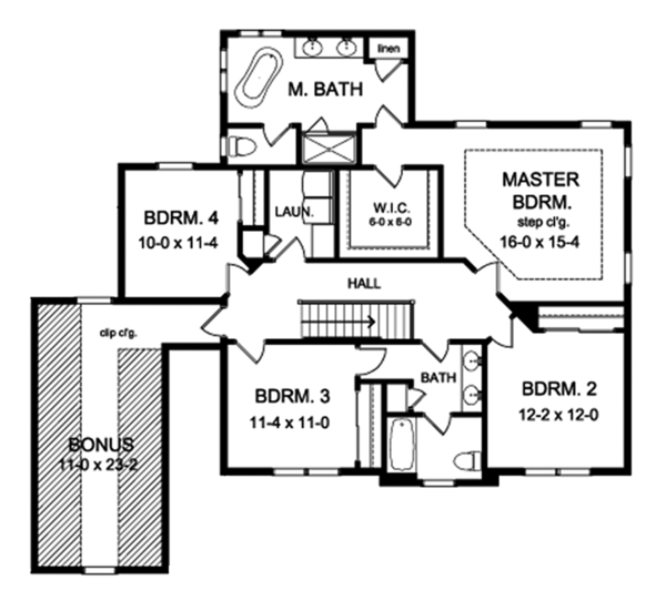 Traditional Floor Plan - Upper Floor Plan Plan #1010-158