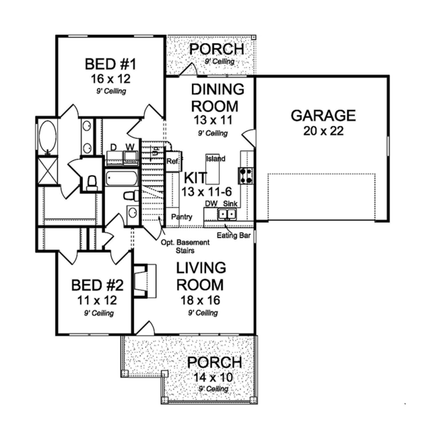 Traditional Floor Plan - Main Floor Plan Plan #513-2162