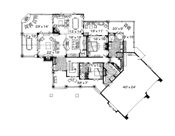 Ranch Floor Plan - Main Floor Plan Plan #942-32