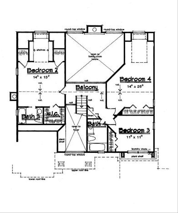 European Floor Plan - Upper Floor Plan Plan #417-323