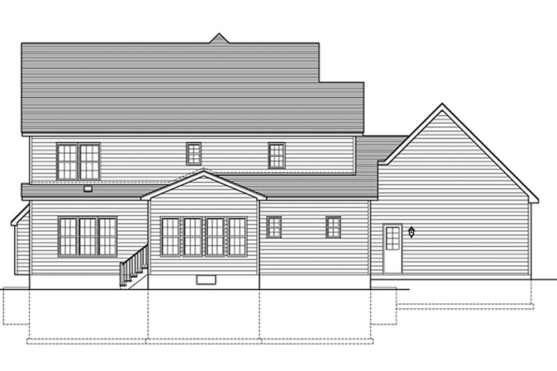Colonial Exterior - Rear Elevation Plan #1010-160 - Houseplans.com