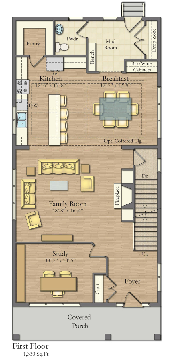 Traditional Floor Plan - Main Floor Plan Plan #1057-13