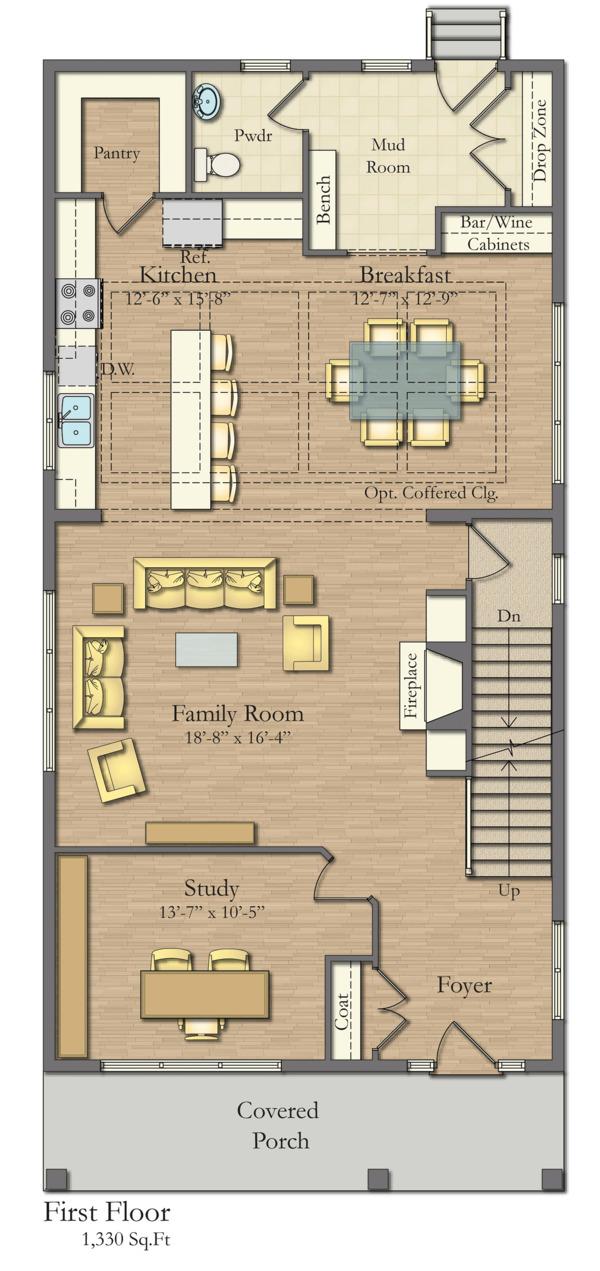 House Plan Design - Traditional Floor Plan - Main Floor Plan #1057-13