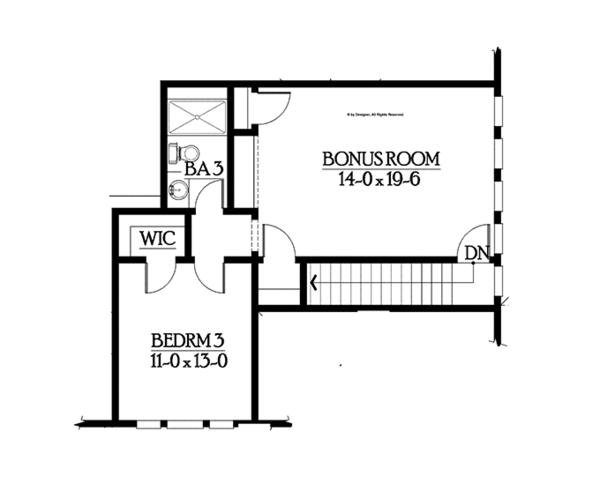 Craftsman Floor Plan - Upper Floor Plan Plan #132-546