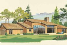 House Blueprint - Contemporary Exterior - Rear Elevation Plan #72-763