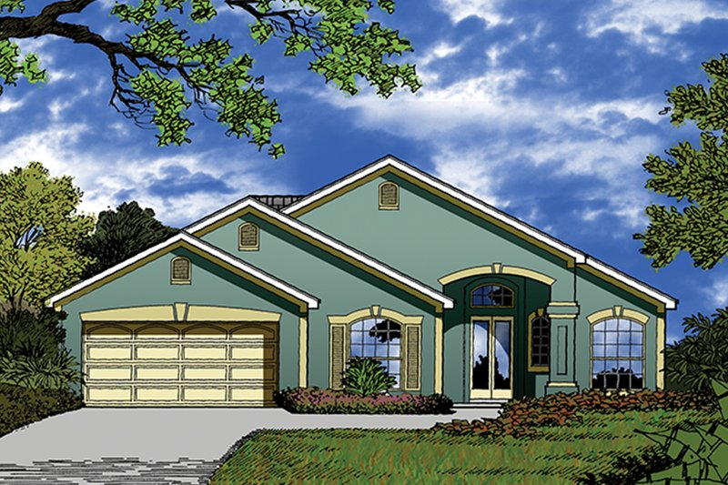 Architectural House Design - Mediterranean Exterior - Front Elevation Plan #417-852