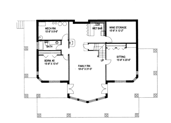 Ranch Floor Plan - Lower Floor Plan Plan #117-840