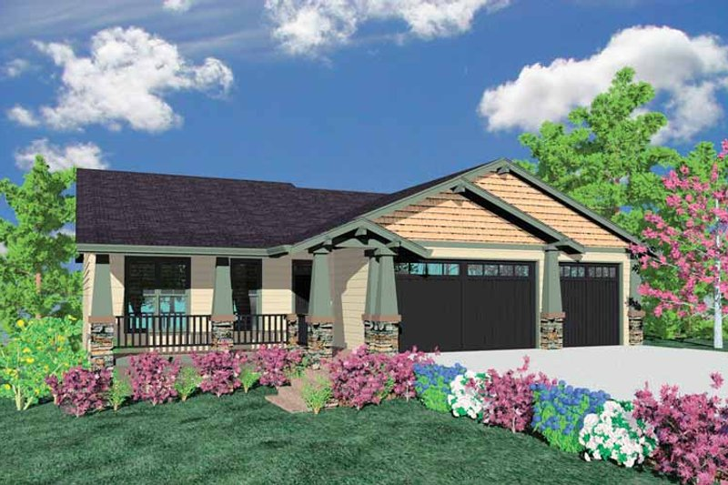 Craftsman Exterior - Front Elevation Plan #509-294