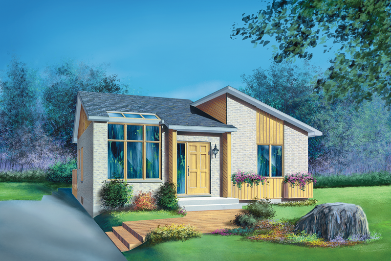Contemporary Style House Plan - 3 Beds 1 Baths 1120 Sq/Ft Plan #25-1182 Exterior - Front Elevation