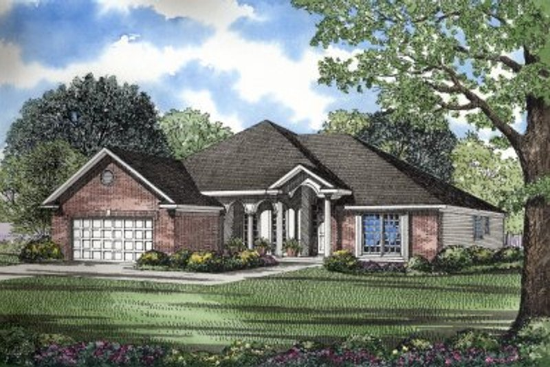 European Style House Plan - 3 Beds 2 Baths 1950 Sq/Ft Plan #17-1025 Exterior - Front Elevation