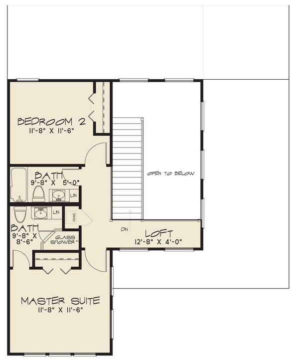 Contemporary Floor Plan - Upper Floor Plan #17-2600