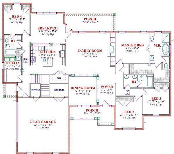 Traditional Floor Plan - Main Floor Plan Plan #63-168