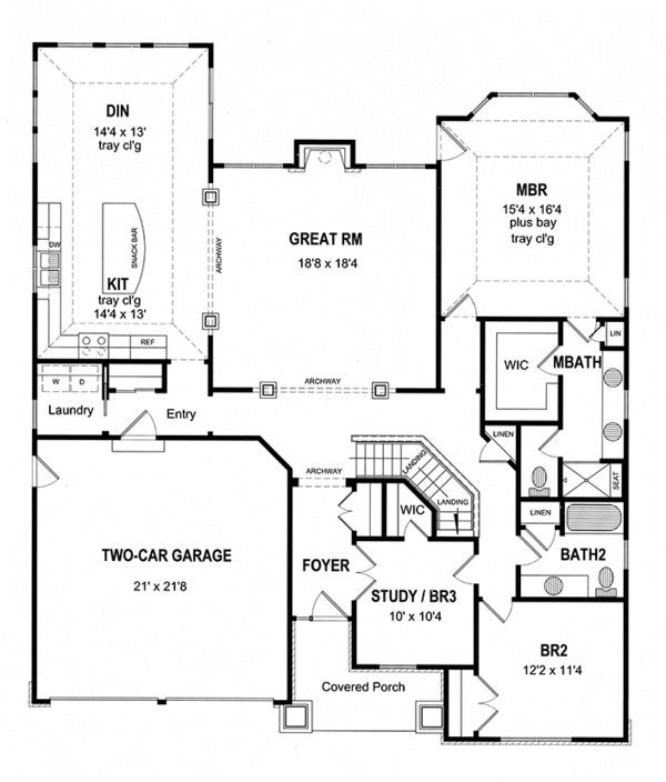 Dream House Plan - Craftsman Floor Plan - Main Floor Plan #316-281