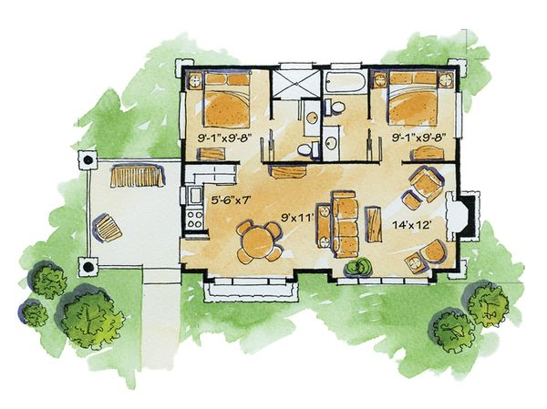 Cabin Floor Plan - Main Floor Plan Plan #942-14