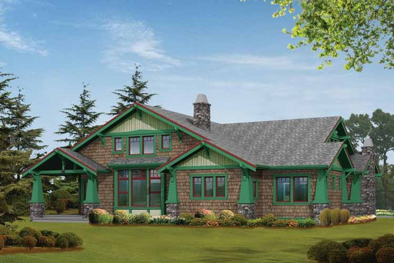 Craftsman Exterior - Rear Elevation Plan #132-239 - Houseplans.com