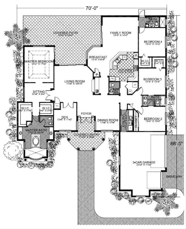 Mediterranean Floor Plan - Main Floor Plan Plan #420-217