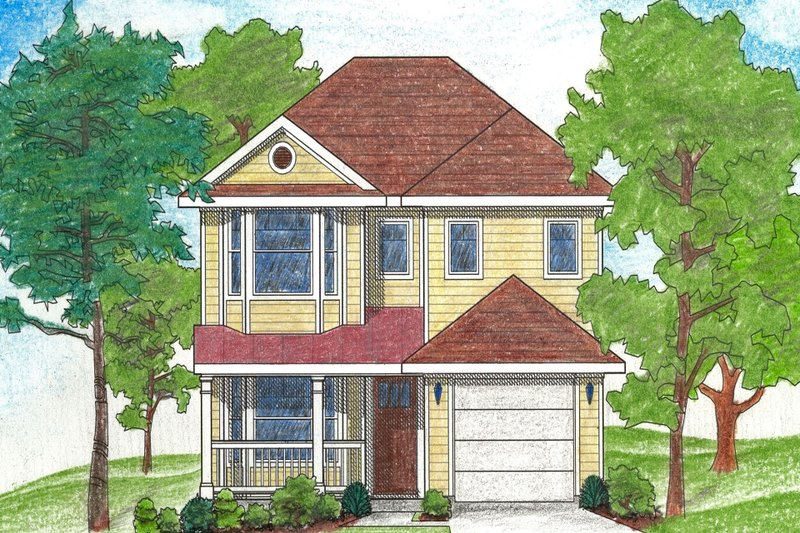 Home Plan - Traditional Exterior - Front Elevation Plan #80-107