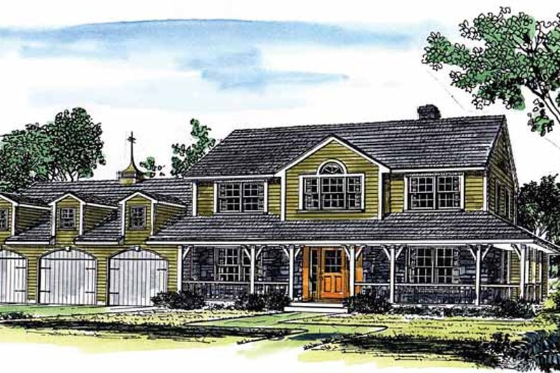 Country Exterior - Front Elevation Plan #315-127 - Houseplans.com