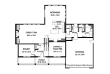 Colonial Floor Plan - Main Floor Plan Plan #1010-173