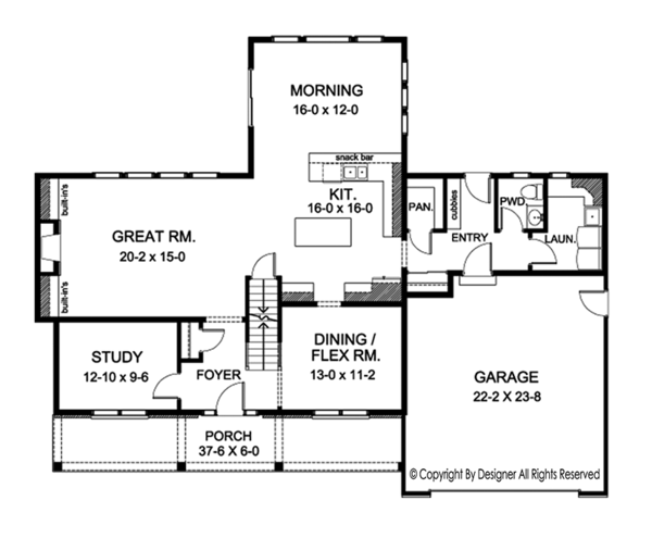 Architectural House Design - Colonial Floor Plan - Main Floor Plan #1010-173
