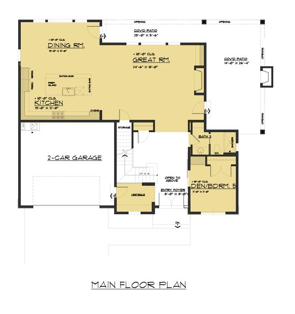 Contemporary Floor Plan - Main Floor Plan Plan #1066-51
