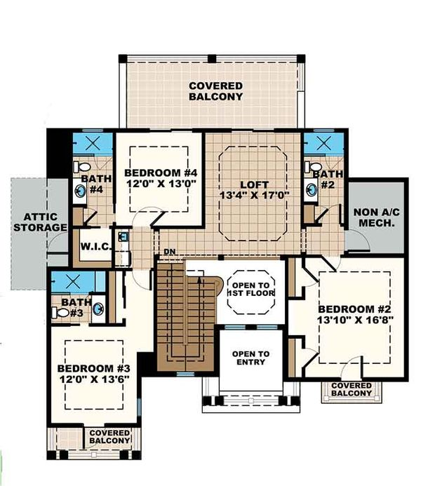 Mediterranean Floor Plan - Upper Floor Plan Plan #1017-169