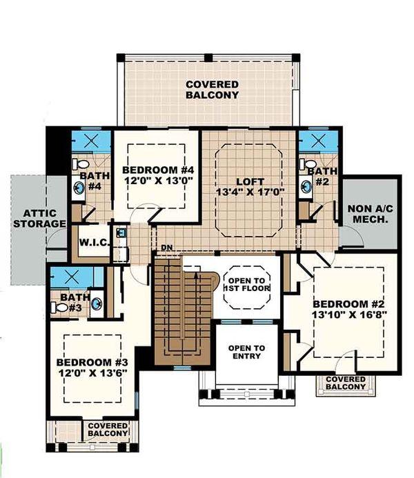 Mediterranean Floor Plan - Upper Floor Plan Plan #1017-169