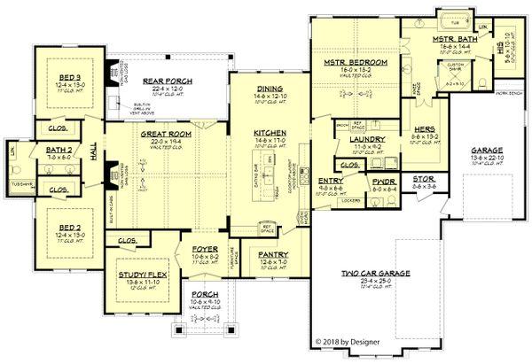 Farmhouse Floor Plan - Main Floor Plan Plan #430-185