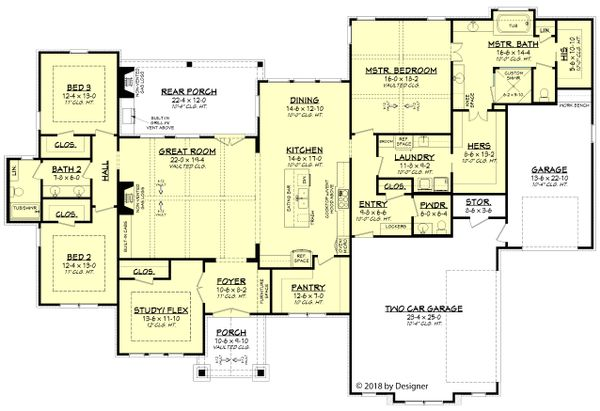 Farmhouse Floor Plan - Main Floor Plan Plan #430-185